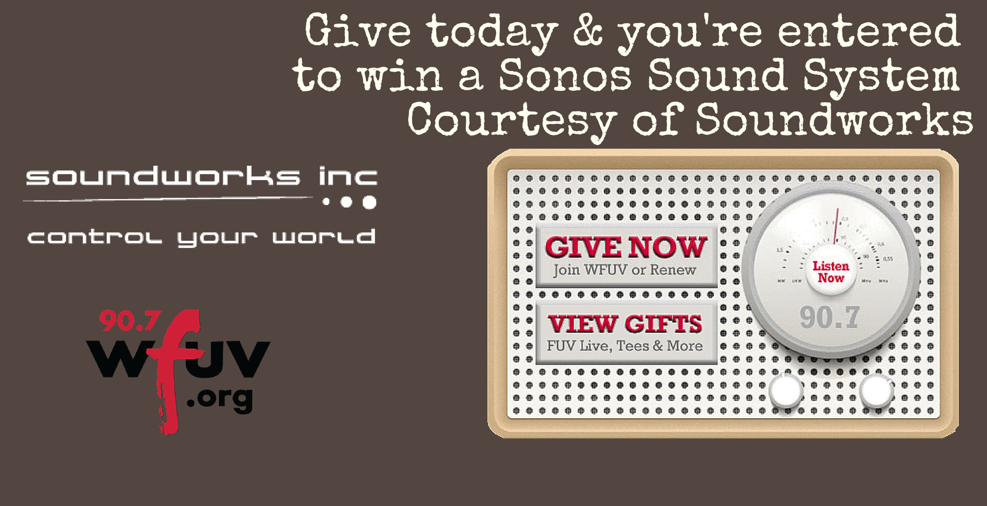 soundworks Give to 90.7 WFUV and Win! -
