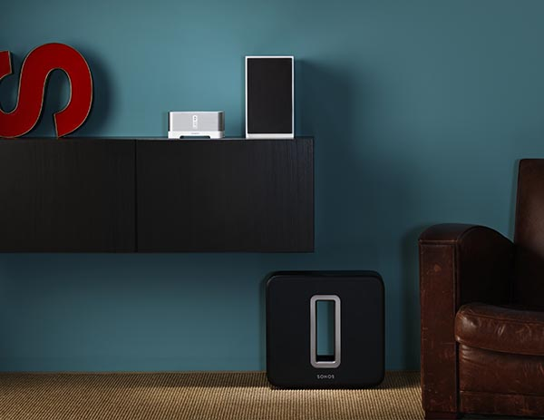 Sonos-Soundworks-Blue-Wall-integrated-home-audio-system-kitchen-and-living-room