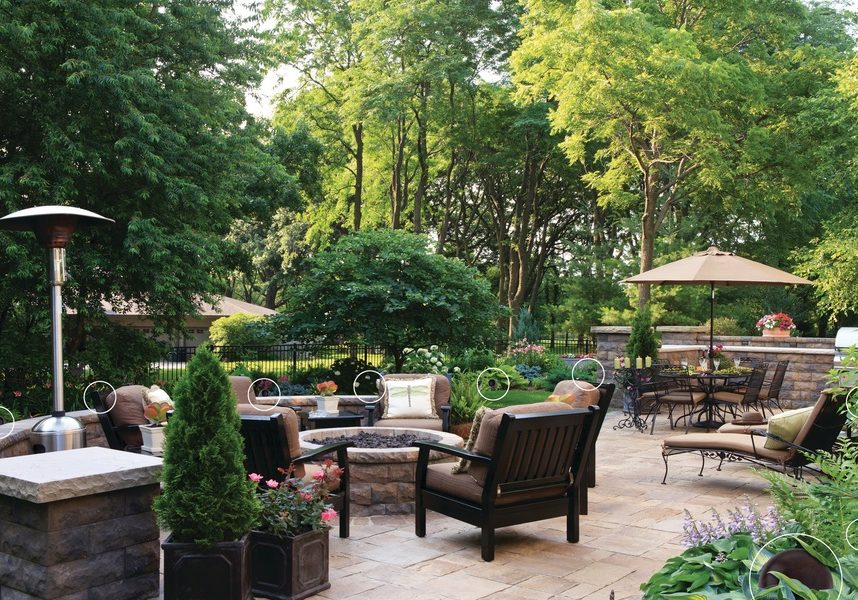 A beautifully designed garden patio with a fire pit.